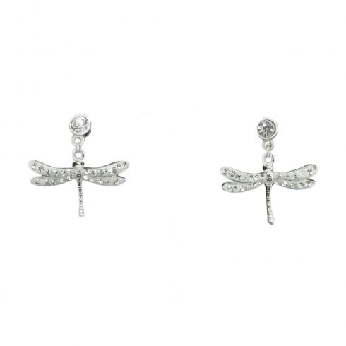 Silver And Cubic Zirconia Dragonfly Earrings
