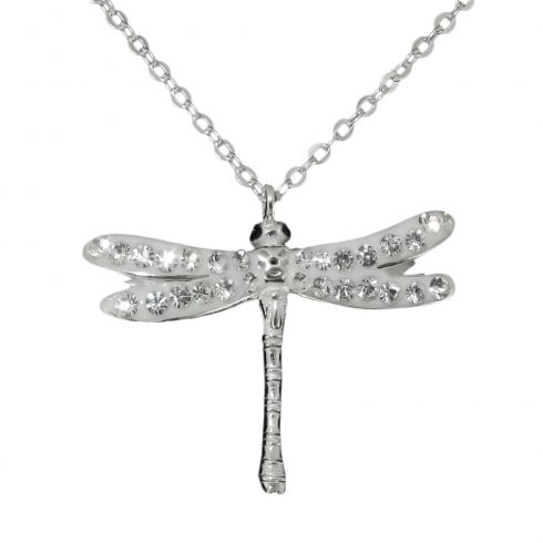 Silver And Cubic Zirconia Dragonfly Pendant Necklace