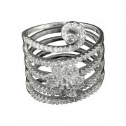 Silver And Cubic Zirconia Floral Cluster Ring