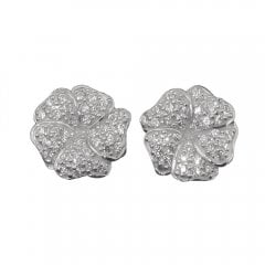 Silver And Cubic Zirconia Gardenia Stud Earrings.