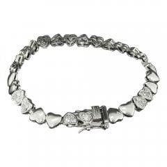 Silver and Cubic Zirconia Heart Bracelet