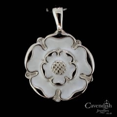 Silver and Enamel York Rose Pendant