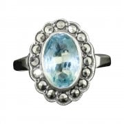 Silver Blue Paste And Marcasite Cluster Ring