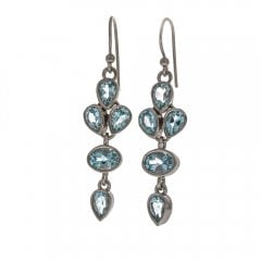 Silver Blue Topaz drop earrings