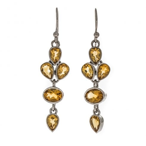 Silver Citrine Faceted Drop Earrings