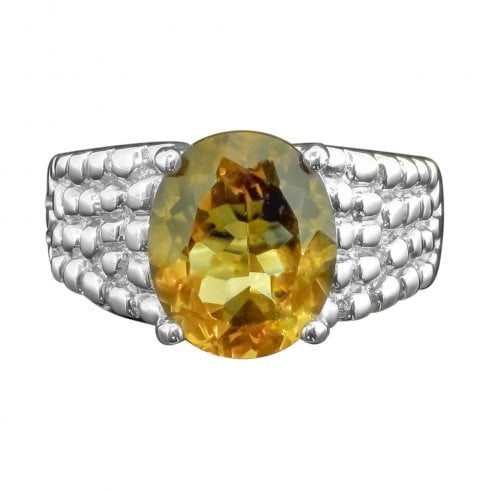 Silver & Citrine Single Stone Dress Ring