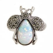 Silver Cultured Opal and Marcasite Bee Ring
