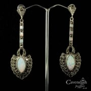 Silver, Cultured Opal And Marcasite Earring And Pendant Set