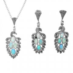 Silver Cultured Opal And Marcasite Earring And Pendant Set