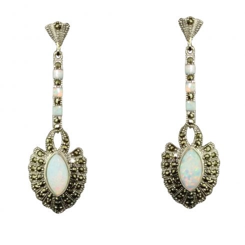 Silver Cultured Opal And Marcastie Drop Earrings