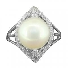 Silver Cultured Pearl and Cubic Zirconia Ring