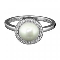 Silver Faux Pearl and Cubic Zirconia Ring