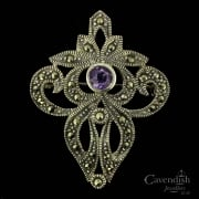 Silver Marcasite And Amethyst Brooch