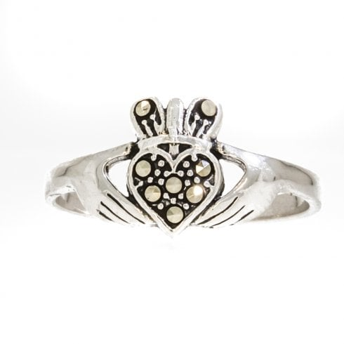 Silver Marcasite Claddagh Ring