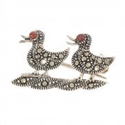 Silver Marcasite Duck Shaped Brooch