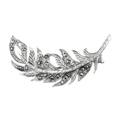 Silver Marcasite Feather Shaped Brooch