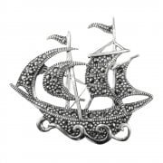 Silver Marcasite Galleon Ship Shaped Brooch