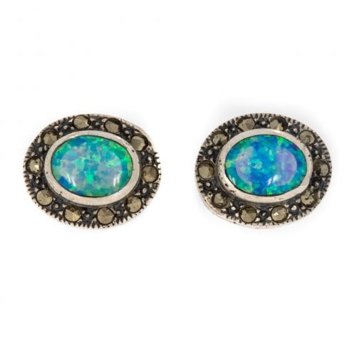 867e90675 Silver Opal And Marcasite Cluster Stud Earrings - from Cavendish Jewellers  Ltd UK