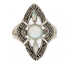 Silver Opal and Marcasite Dress Ring