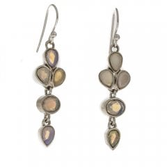 Silver Opal Faceted Drop Earrings