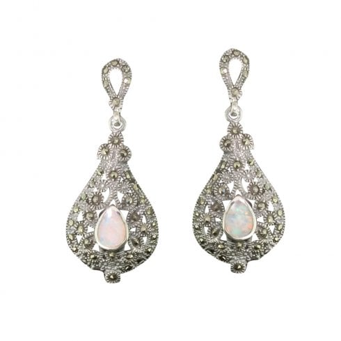 Silver Opal & Marcasite Drop Earrings