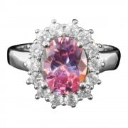 Silver Pink and White Cubic Zirconia Cluster Ring
