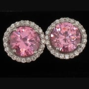 Silver Pink & White Cubic Zirconia Cluster Earstuds