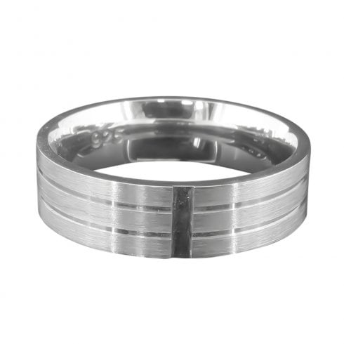 Silver Satin Finish 2 Line Gents Ring