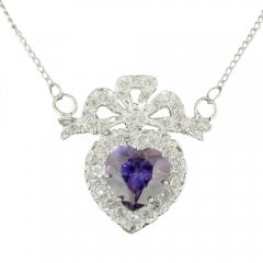 Silver Synthetic Amethyst And Cubic Zirconia Necklace