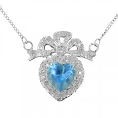 Silver Synthetic Blue Topaz And Cubic Zirconia Necklace