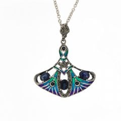 Silver Synthetic Sapphire Marcasite And Enamel Pendant Necklace