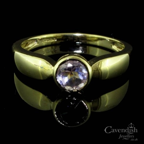 Simplistic 9ct Gold And Amethyst Single Stone Ring