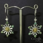 Sparkling Snowflake Design Drop Diamond Earrings