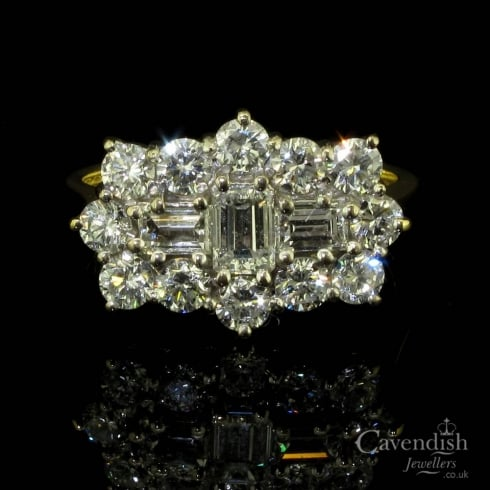 Spectacular 18ct Gold Diamond Cluster Ring