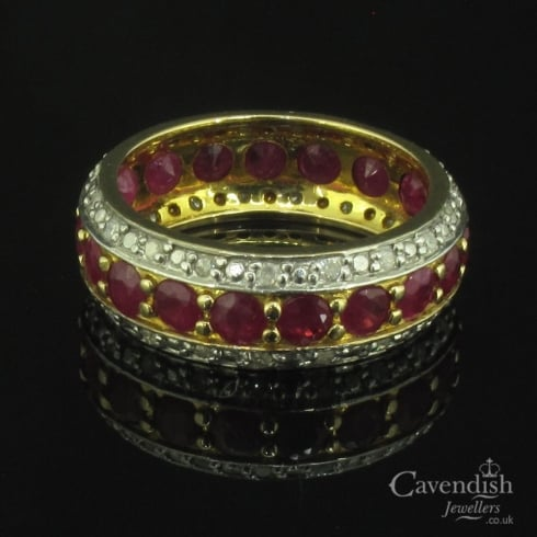 Spectacular 9ct Gold Ruby and Diamond Eternity Band Ring