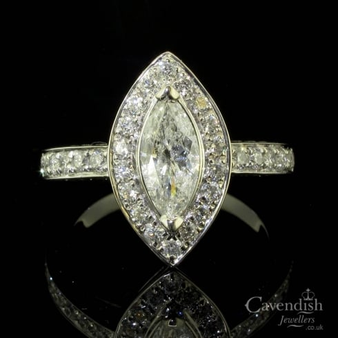 Spectacular Marquise Diamond Cluster Ring