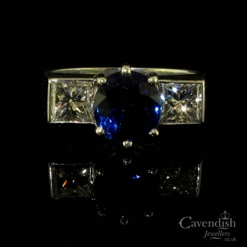 Spectacular Platinum Sapphire & Diamond Trilogy Ring
