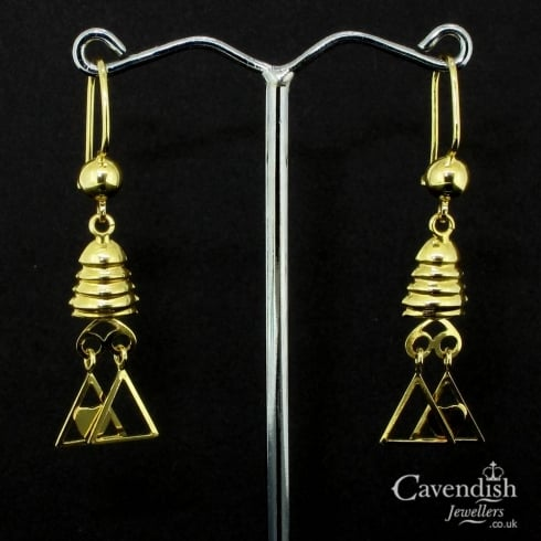 Spectacular Triangle Heart Drop Earrings