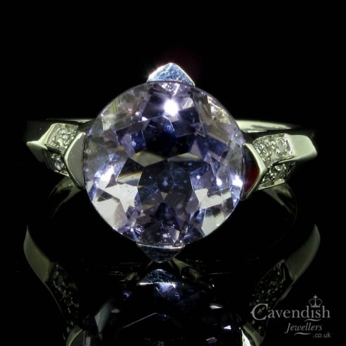 Spectacular White Gold, Amethyst And Diamond Dress Ring