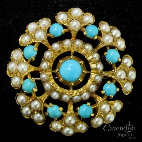 Splendid 9ct Gold Turquoise And Pearl Brooch