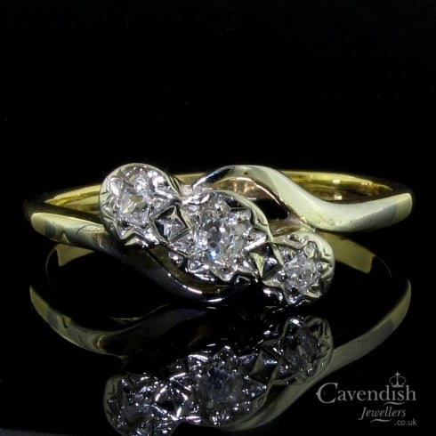 Splendid Gold And Old Cut Diamond Trilogy Twist Ring Circa 1925