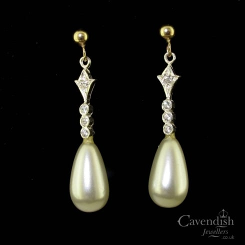 Splendid Gold Synthetic Pearl and Cubic Zirconia Drop Earrings