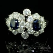 Splendid Platinum, Sapphire And Diamond Double Cluster Ring
