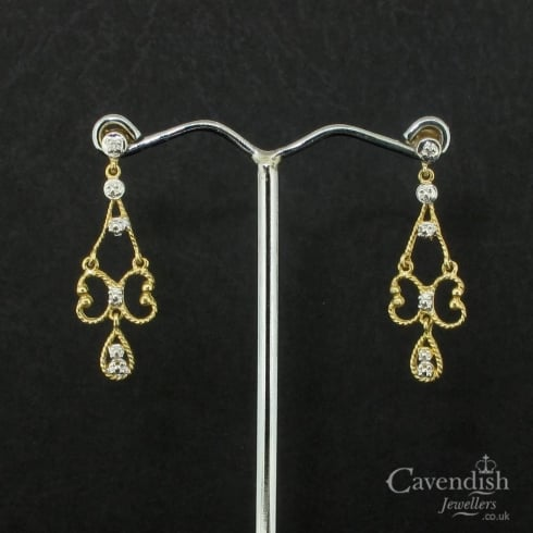 Splendid Yellow Gold, Diamond Set Fancy Drop Earrings