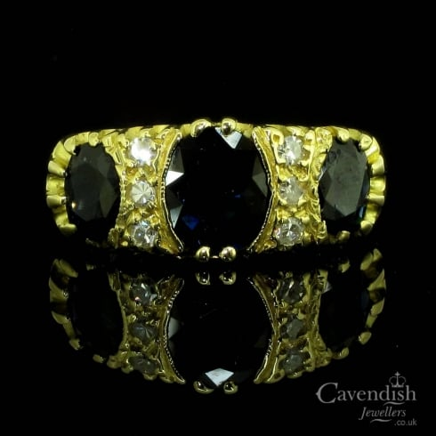 Striking 18ct Gold, Sapphire And Diamond Ring