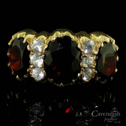 Striking 9ct Gold, Garnet & Cubic Zirconia Victorian Style Ring