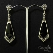 Striking silver, marcasite and black onyx drop earrings