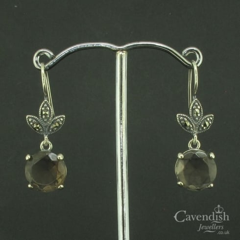 Striking SIlver, Smokey Quartz And Marcasite Drop Earrings