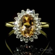 Stunning 18ct Gold, Imperial Topaz And Diamond Cluster Ring