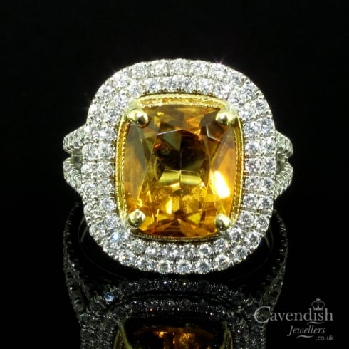 Stunning 18ct White gold, Citrine & Diamond Cluster Ring